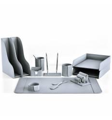 Настольный набор Бизнес, 12 предметов, кожа Treccia/Сuoietto, цвет серый