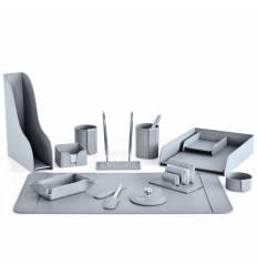 Настольный набор Бизнес, 13 предметов, кожа Treccia/Сuoietto, цвет серый