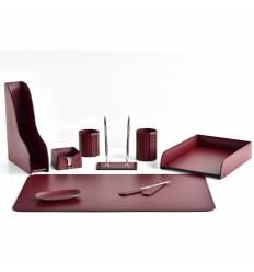 Настольный набор Бизнес, 9 предметов, кожа Сuoietto, цвет бордовый