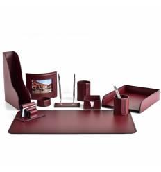 Настольный набор Бизнес, 10 предметов, кожа Сuoietto, цвет бордовый