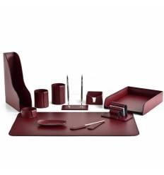 Настольный набор Бизнес, 11 предметов, кожа Сuoietto, цвет бордовый