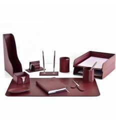 Настольный набор Бизнес, 12 предметов, кожа Сuoietto, цвет бордовый