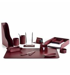 Настольный набор Бизнес, 13 предметов, кожа Сuoietto, цвет бордовый