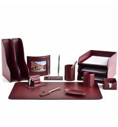 Настольный набор Бизнес, 14 предметов, кожа Сuoietto, цвет бордовый