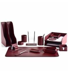 Настольный набор Бизнес, 16 предметов, кожа Сuoietto, цвет бордовый