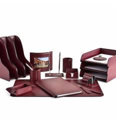Настольный набор Бизнес, 17 предметов, кожа Сuoietto, цвет бордовый