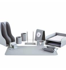 Настольный набор Бизнес, 12 предметов, кожа Сuoietto, цвет серый