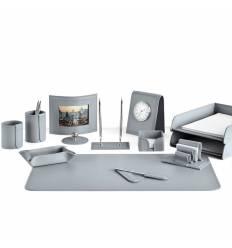 Настольный набор Бизнес, 13 предметов, кожа Сuoietto, цвет серый