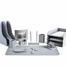Настольный набор Бизнес, 14 предметов, кожа Сuoietto, цвет серый