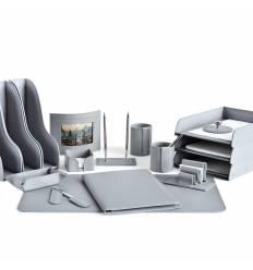 Настольный набор Бизнес, 17 предметов, кожа Сuoietto, цвет серый