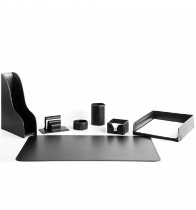 Настольный набор Бизнес, 7 предметов, кожа Сuoietto, цвет черный