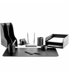 Настольный набор Бизнес, 11 предметов, кожа Сuoietto, цвет черный