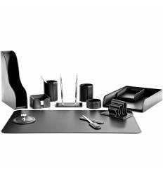 Настольный набор Бизнес, 12 предметов, кожа Сuoietto, цвет черный