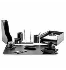 Настольный набор Бизнес, 14 предметов, кожа Сuoietto, цвет черный