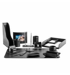 Настольный набор Бизнес, 15 предметов, кожа Сuoietto, цвет черный