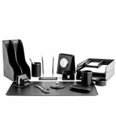 Настольный набор Бизнес, 16 предметов, кожа Сuoietto, цвет черный