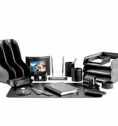 Настольный набор Бизнес, 20 предметов, кожа Сuoietto, цвет черный