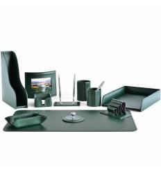 Настольный набор Бизнес, 11 предметов, кожа Сuoietto, цвет зеленый