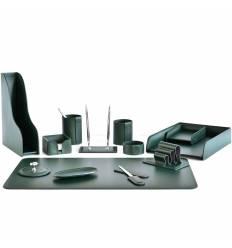 Настольный набор Бизнес, 13 предметов, кожа Сuoietto, цвет зеленый