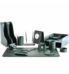 Настольный набор Бизнес, 16 предметов, кожа Сuoietto, цвет зеленый