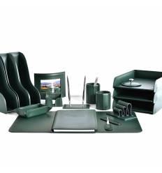 Настольный набор Бизнес, 17 предметов, кожа Сuoietto, цвет зеленый