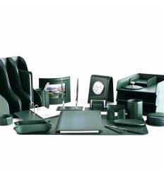 Настольный набор Бизнес, 24 предметов, кожа Сuoietto, цвет зеленый