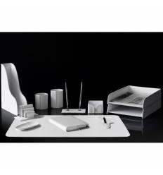 Настольный набор Бизнес, 12 предметов, кожа Сuoietto, цвет белый