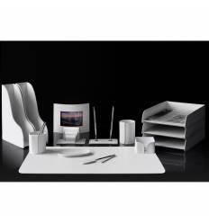 Настольный набор Бизнес, 14 предметов, кожа Сuoietto, цвет белый