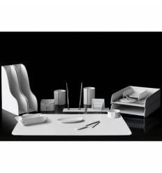 Настольный набор Бизнес, 16 предметов, кожа Сuoietto, цвет белый