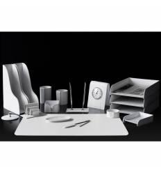 Настольный набор Бизнес, 17 предметов, кожа Сuoietto, цвет белый