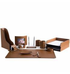 Настольный набор Бизнес, 13 предметов, кожа Сuoietto, цвет табак