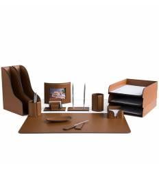 Настольный набор Бизнес, 14 предметов, кожа Сuoietto, цвет табак