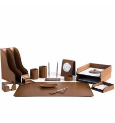 Настольный набор Бизнес, 16 предметов, кожа Сuoietto, цвет табак