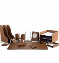 Настольный набор Бизнес, 17 предметов, кожа Сuoietto, цвет табак