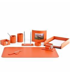 Настольный набор Бизнес, 10 предметов, кожа Сuoietto, цвет оранжевый