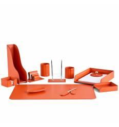 Настольный набор Бизнес, 12 предметов, кожа Сuoietto, цвет оранжевый