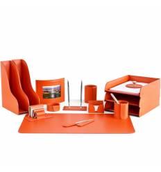Настольный набор Бизнес, 15 предметов, кожа Сuoietto, цвет оранжевый
