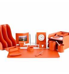Настольный набор Бизнес, 20 предметов, кожа Сuoietto, цвет оранжевый