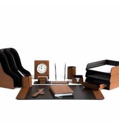 Настольный набор Бизнес, 16 предметов, кожа Сuoietto, цвет табак/шоколад