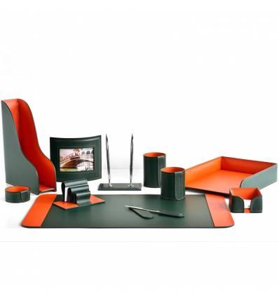 Настольный набор Бизнес, 11 предметов, кожа Сuoietto, цвет зеленый/оранжевый