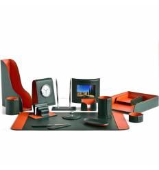 Настольный набор Бизнес, 15 предметов, кожа Сuoietto, цвет зеленый/оранжевый