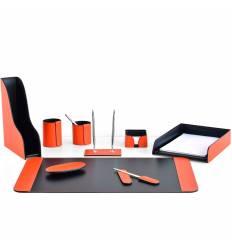 Настольный набор Бизнес, 9 предметов, кожа Сuoietto, цвет оранжевый/шоколад