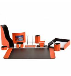 Настольный набор Бизнес, 10 предметов, кожа Сuoietto, цвет оранжевый/шоколад