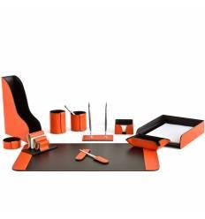 Настольный набор Бизнес, 11 предметов, кожа Сuoietto, цвет оранжевый/шоколад