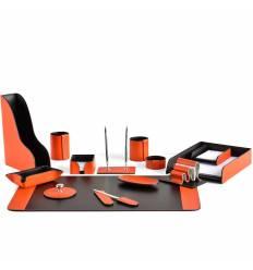 Настольный набор Бизнес, 14 предметов, кожа Сuoietto, цвет оранжевый/шоколад