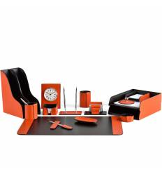 Настольный набор Бизнес, 16 предметов, кожа Сuoietto, цвет оранжевый/шоколад