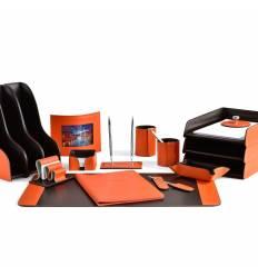 Настольный набор Бизнес, 17 предметов, кожа Сuoietto, цвет оранжевый/шоколад