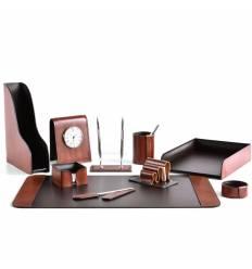 Настольный набор Премиум, 10 предметов, кожа Full Grain Tan/Cuoietto шоколад