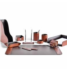 Настольный набор Премиум, 11 предметов, кожа Full Grain Tan/Cuoietto шоколад