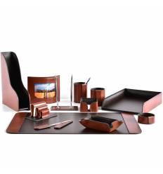 Настольный набор Премиум, 12 предметов, кожа Full Grain Tan/Cuoietto шоколад